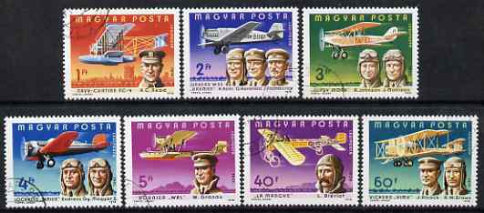 Hungary 1978 Famous Aviators & their Airplanes perf set of 7 cds used SG 3177-83