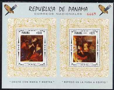 Panama 1966 Religious Paintings perf m/sheet unmounted mint (Tintoretto & Caravaggionl), stamps on arts, stamps on religion, stamps on tintoretto, stamps on caravaggio