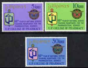 Philippines 1972 Pharmaceutical Sciences perf set of 3 unmounted mint, SG 1281-3