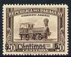 Paraguay 1946 surcharged 5c on 20c brown (Locomotive) unmounted mint, SG  636