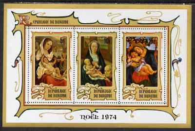 Burundi 1974 Christmas perf msheet (5f, 10f & 15f) unmounted mint, SG MS1004a