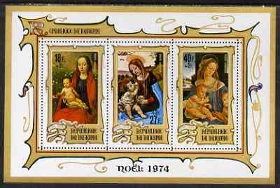 Burundi 1974 Christmas Charity perf msheet (18f+2f, 27f+2f & 40f+2f) unmounted mint, SG MS1011b