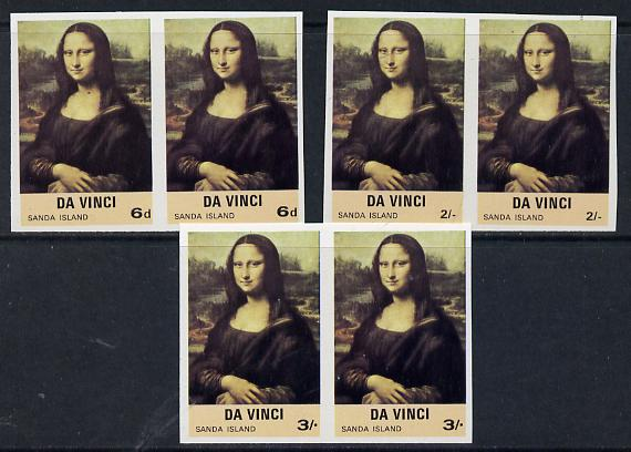 Sanda Island 1968 Mona Lisa set of 3 (6d, 2s & 3s) in unmounted mint imperf pairs