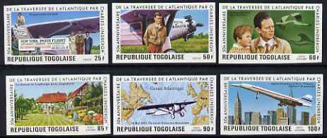 Togo 1977 50th Anniversary of Lindbergh's Transatlantic Flight imperf set of 6 from limited printing, unmounted mint as SG 1207-12