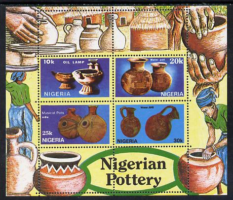 Nigeria 1990 Pottery m/sheet containing set of 4 unmounted mint, SG MS 592