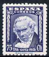 Spain 1946 Birth Bicentenary of Goya 75c deep blue shade unmounted mint SG 1075a