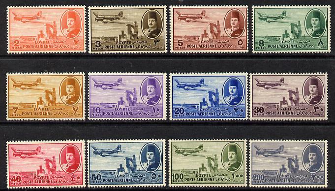 Egypt 1947 Dakota 'Air' set of 12 unmounted mint, SG 322-33*