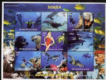 Chad 2008 Scuba Diving perf sheetlet containing 9 values unmounted mint. Note this item is privately produced and is offered purely on its thematic appeal.