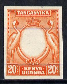 Kenya, Uganda & Tanganyika 1938-54 KG6 20c imperf working proof of frame only (Crane) on lined security paper without gum