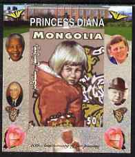 Mongolia 2007 Tenth Death Anniversary of Princess Diana 50f imperf m/sheet #02 unmounted mint (Churchill, Kennedy, Mandela, Roosevelt & Butterflies in background)