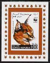 Somalia 1998 WWF - Caracal Lynx 100sh imperf individual de-luxe sheetlet, unmounted mint. Note this item is privately produced and is offered purely on its thematic appeal