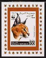 Somalia 1998 WWF - Caracal Lynx 300sh imperf individual de-luxe sheetlet, unmounted mint. Note this item is privately produced and is offered purely on its thematic appeal