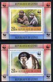 Guinea - Conakry 2000 WWF - Mangabey perf set of 2 individual de-luxe sheetlets, unmounted mint. Note this item is privately produced and is offered purely on its thematic appeal