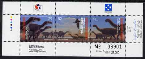Micronesia 1994 Philakorea Stamp Exhibition - Dinosaurs composite perf sheetlet containing set of 3 values unmounted mint, SG 392-4