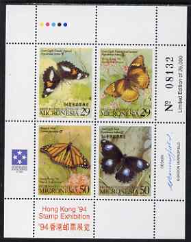 Micronesia 1994 Hong Kong Stamp Exhibition - Butterflies perf sheetlet containing set of 4 values unmounted mint, SG 360-3