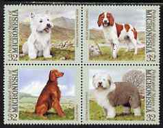 Micronesia 1995 Dogs perf set of 4 values unmounted mint, SG 426-9, stamps on dogs, stamps on westie, stamps on highland terrier, stamps on springer spaniel, stamps on irish setter, stamps on old english sheepdog, stamps on