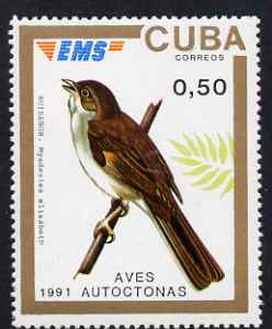 Cuba 1991 Express Mail Stamp - 50c Solitaire Bird unmounted mint SG E3639