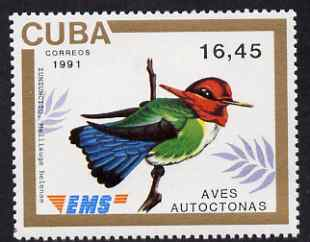 Cuba 1991 Express Mail Stamp - 16p45 Bee Hummingbird unmounted mint SG E3644