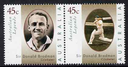 Australia 1997 Legends (1st series) Sir Donald Bradman perf se-tenant set of 2 unmounted mint SG 1663a