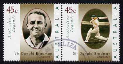 Australia 1997 Legends (1st series) Sir Donald Bradman perf se-tenant set of 2 fine used SG 1663a