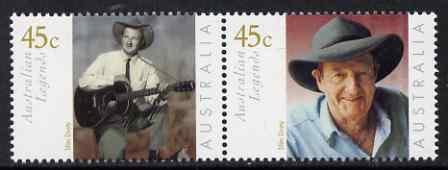 Australia 2001 Legends (5th series) Slim Dusty perf se-tenant set of 2 unmounted mint SG 2069a, stamps on personalities, stamps on music