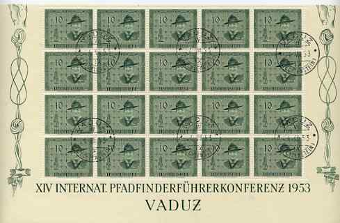 Liechtenstein 1953 Scout Conference set of 4 in complete sheets of 20 (10r reduced at top) all fine cds used, SG 313-6 cat \A3400+