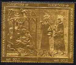 Bernera 1981 Christmas set of two \A38 values each embossed in 22 carat gold foil unmounted mint