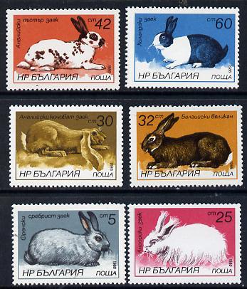 Bulgaria 1986 Rabbits set of 6, SG 3324-29 (Mi 3447-52)