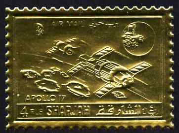 Sharjah 1972 Apollo 17 perf 4r embossed in gold foil unmounted mint, as Mi 1060A, stamps on space, stamps on apollo