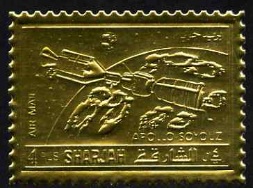 Sharjah 1972 Apollo-Soyuz perf 4r embossed in gold foil unmounted mint, as Mi 1066A