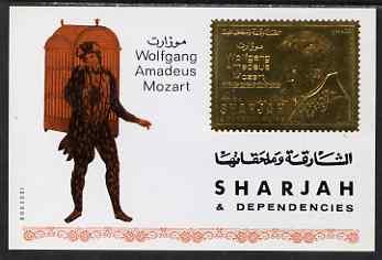 Sharjah 1970 Mozart Commemoration Airmail 4r m/sheet in gold foil unmounted mint, Mi 735B