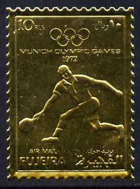 Fujeira 1972 Munich Olympic Games perf 10r Tennis embossed in gold foil unmounted mint as Mi 1280A