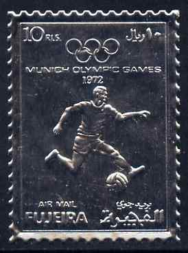 Fujeira 1972 Munich Olympic Games perf 10r Football embossed in silver foil unmounted mint as Mi 1403A