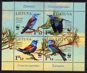 Lithuania 2008 WWF - European Roller perf m/sheet containing set of 4 unmounted mint
