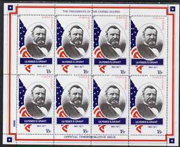Staffa 1982 Presidents of the United States #18 Ulysses S Grant perf sheetlet containing 8 x 18p values unmounted mint