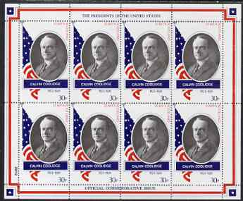 Staffa 1982 Presidents of the United States #30 Calvin Coolidge perf sheetlet containing 8 x 30p values unmounted mint