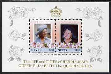 Nevis 1985 Life & Times of HM Queen Mother (Leaders of the World) the unissued deluxe sheetlet containing 2 x $1.50, unmounted mint, similar to SG 315a