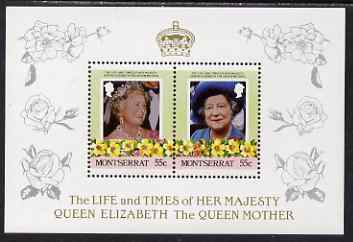 Montserrat 1985 Life & Times of HM Queen Mother (Leaders of the World) the unissued deluxe sheetlet containing 2 x 55c, unmounted mint, similar to SG 636a