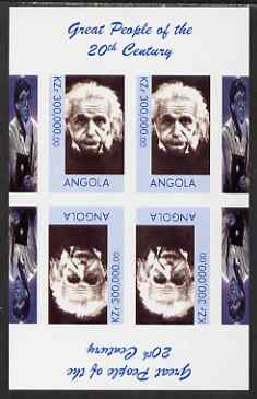 Angola 1999 Great People of the 20th Century - Albert Einstein (portrait) imperf sheetlet of 4 (2 tete-beche pairs with the Bill Gates in margin) unmounted mint. Note this item is privately produced and is offered purely on its thematic appeal
