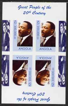 Angola 1999 Great People of the 20th Century - Martin Luther King imperf sheetlet containing 4 values (2 tete-beche pairs) unmounted mint. Note this item is privately produced and is offered purely on its thematic appeal (JFK in margin)