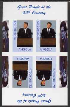 Angola 1999 Great People of the 20th Century - John Kennedy imperf sheetlet of 4 (2 tete-beche pairs) unmounted mint. Note this item is privately produced and is offered ...
