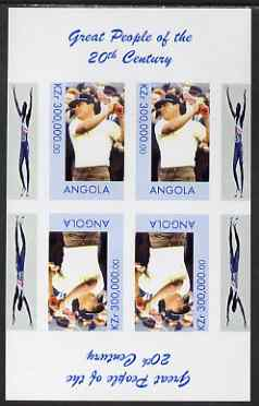 Angola 1999 Great People of the 20th Century - Lee Trevino (Golfer) imperf sheetlet of 4 (2 tete-beche pairs) unmounted mint