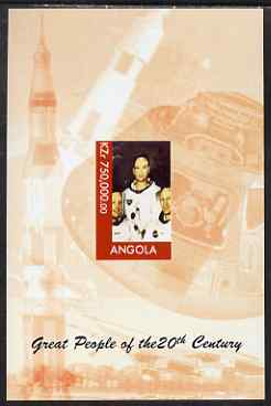 Angola 1999 Great People of the 20th Century - Apollo Astronauts imperf souvenir sheet unmounted mint. Note this item is privately produced and is offered purely on its thematic appeal