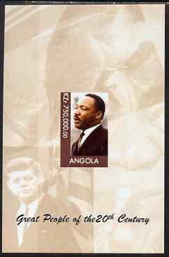 Angola 1999 Great People of the 20th Century - Martin Luther King imperf souvenir sheet unmounted mint. Note this item is privately produced and is offered purely on its thematic appeal (JFK & Mother Teresa in background)