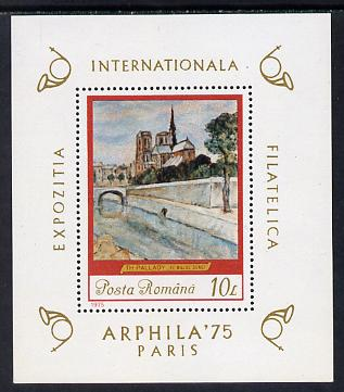 Rumania 1975 'Arphila 75' Stamp Exhibition (Painting of Bridge over the Seine) m/sheet unmounted mint, Mi BL 120