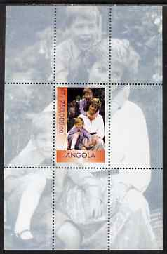 Angola 1999 Princess Diana with Harry & William perf s/sheet unmounted mint