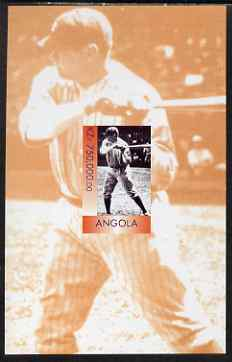 Angola 1999 Babe Ruth imperf s/sheet unmounted mint