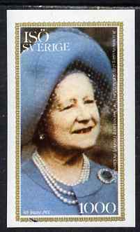 Iso - Sweden 1980 Queen Mother's 80th Birthday imperf souvenir sheet (1000 value) unmounted mint