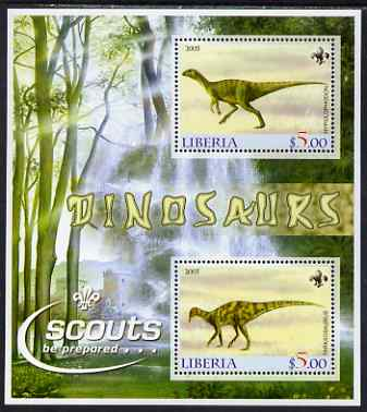 Liberia 2005 Dinosaurs perf sheetlet containing 2 values each with Scout Logos unmounted mint