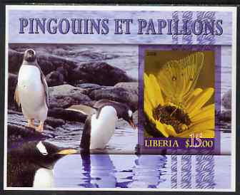 Liberia 2006 Butterflies & Penguins #1 imperf m/sheet unmounted mint